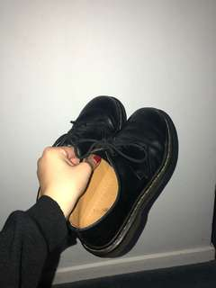 doc martens black low cut size 7