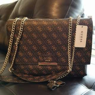 Authentic GUESS Ryann Logo Shoulder Bag brown for only 6k