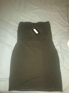 Khaki Slit Bodycon Dress