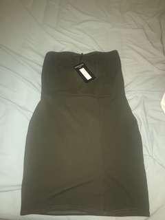 Khaki Slit Bodycon Dress