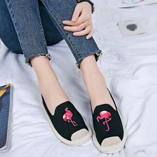2018 Women Flamingo Shoes Canvas Shoes Woman Causal Shoes Comfortable Slip On Fabric Flats Embroider Shoes Women Slipony