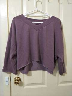 Over sized purple crop sweater
