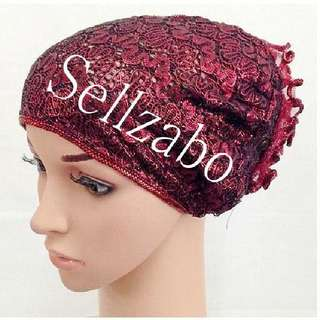 Hair Caps : Red Ready To Wear Lacey Flora Stretchable Sellzabo Muslim Accessories Muslimah Malays Ladies Girls Women Female Lady