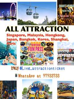 USS•SEA AQUARIUM•ADVENTURE COVE•MADAME TUSSAUDS•TRICK EYE MUSEUM•SEGWAY•CABLE CAR•IFLY•LUGE & SKYRIDE•WINGS OF TIME•GARDEN BY THE BAY•MBS SKYPARK•SG FLYER•ZOO•RIVER SAFARI•JURONG BIRD PARK•SNOW CITY•SCIENCE CENTRE•LEGOLAND THEMEPARK•USJ•PARIS DISNEY