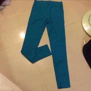 🙈《沒穿過系列》彈性緊身褲 亮藍綠色