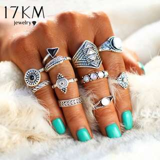 17KM Fashion leaf stone midi ring set