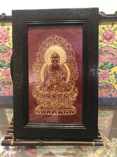 Golden craving Guanyin with fine wooden frame