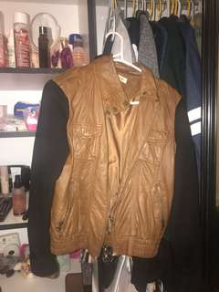 Brown/Tan Faux Leather Jacket