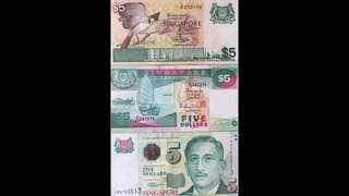 Singapore Paper Notes $5