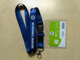 Nus mechanical engineering lanyard with card holder