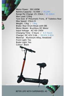 Scooter (electric) Superwheel scooter 10.4 AH