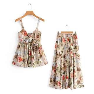 🔥Europe 2018 Loose Palm Tree Top + Skirt Set