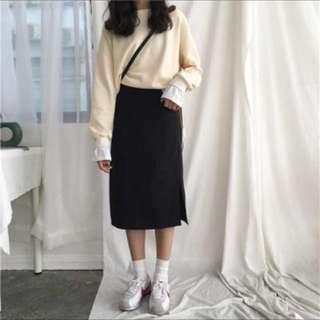 🚚 黑色側開叉中長裙 pazzo meierq room4
