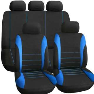Universal FULL Car Seat Cover Set 9Pcs blk/blue