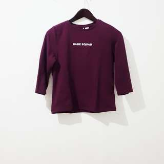H&M babe squad semi crop 3/4 sleeves top