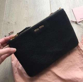 Brand New 100% Authentic Miu Miu Double Zip Crossbody Leather Bag Black