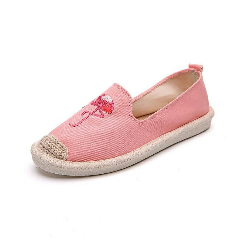 58713068ebd 2018 Women Flamingo Shoes Canvas Shoes Woman Causal Shoes Comfortable Slip  On Fabric Flats Embroider Shoes Women Slipony