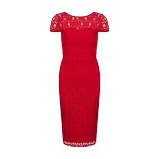 Dorothy Perkins Petite Lace Sheer Dress in Red