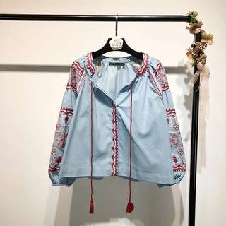 2018 Retro Ethnic Wind Embroidered Lace V-neck Loose Long Sleeve Shirt Hong Kong Flavored Top