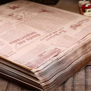 (instock) Brown 'newspaper' grease paper x 10 sheets