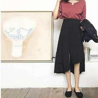 Bnip black asymmetrical midi skirt