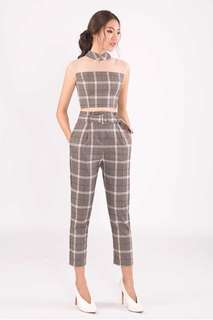 DOCOLIAL PANTS (SWAP) Paperbag Checkered Highwaisted Pant