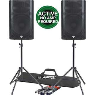 """Cerwin Vega Professional P1500X Powered Active 15"""" PA Speakers total 3,000 Watts + B-52 USA Professional Tripod Stands +  B-52 XLR Connecting Cables (UP $2,900) Warehouse Price $1,500 last few sets while stock lasts!!"""