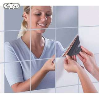 16PCSl High Quality Square Mirror Wall Stickers FOR HOME