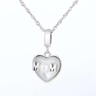 Code MS364 - 3D Heart Love Mom For Mother With Pearl 100% 925 Sterling Silver Charm, Chain Is Not Included, Compatible With Pandora