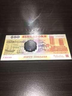 Singapore Polymer $50 1ST Prefix A052599