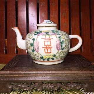 Antique Hand Painted Famille Rose Tea Pot