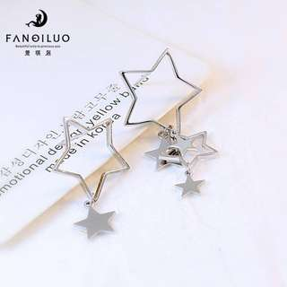 S925 SILVER Korean Edition Stars AB Type Earrings