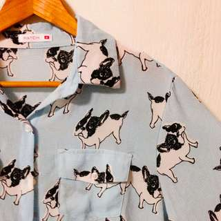 BN Patch Dog Prints Buttoned Top / Outerwear