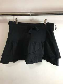 Ruffled drawstring mini skirt
