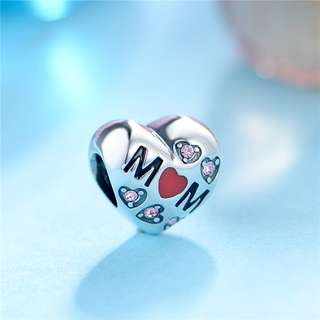 Code MS406 - Love Mom Heart For Mother 100% 925 Sterling Silver Charm, Chain Is Not Included, Compatible With Pandora