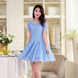 🎠 FLASH DEAL - Plus Size 4X Pastel Candy Blue Korea Floral Lace Baby Doll A-line Skater Dress