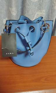 Zara blue leather bag