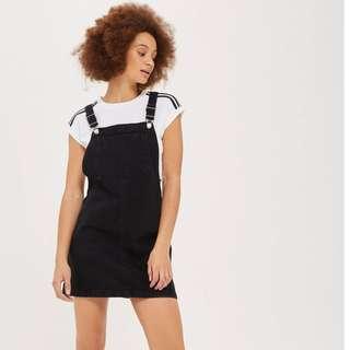 Topshop Petite Black Denim Pinafore Dress 4 XXS
