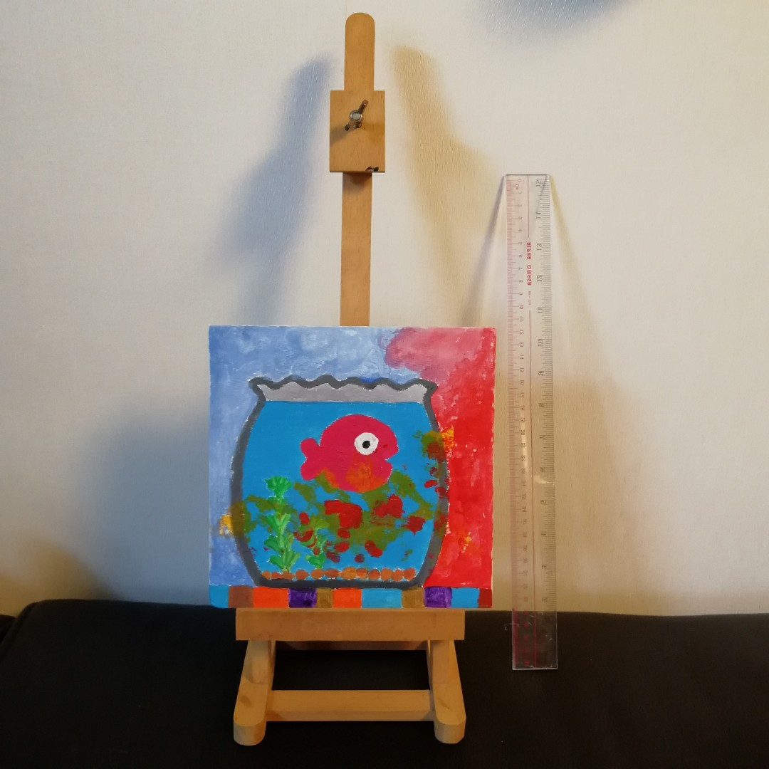 20 x 20cm 金魚畫 連木畫架 Fish painting with wooden easel