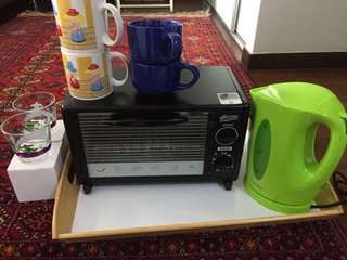 Tea cups, kettle , toaster, water glasses, and tray