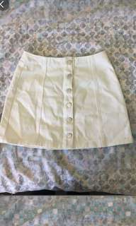 WHITE BUTTON DENIM SKIRT