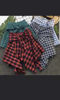 Checkered Tie Front Skirt