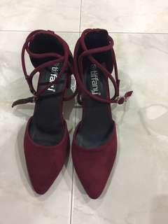 Wine red high heels shoes