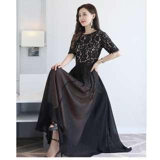 Black Colour Chiffon Short Sleeve Dress - Large Size 5XL