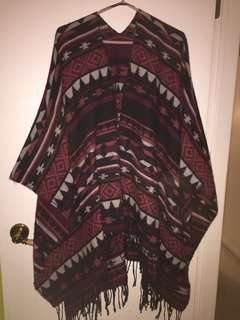 Red patterned Poncho from Garage