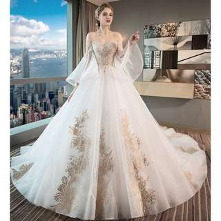 Pre order white gold off shoulder fishtail long sleeve wedding bridal prom evening dress gown  RB0613
