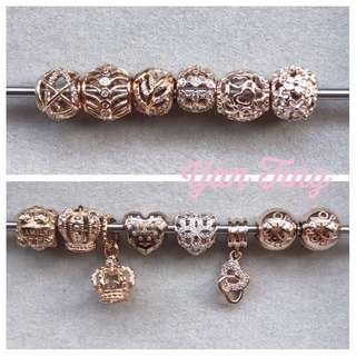 Pandora brand new rose gold charms