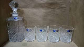 Crystal Decanter with 4 Whisky Glass