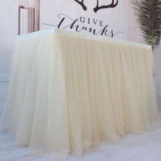 Cream tulle table skirting
