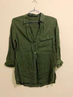 zara grass green linen women shirt